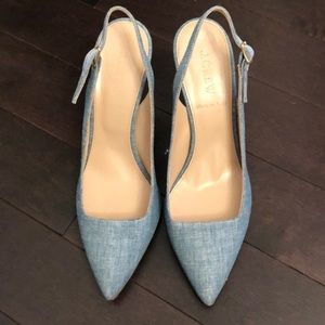 NWOT JCrew Chambray Slingback Heels
